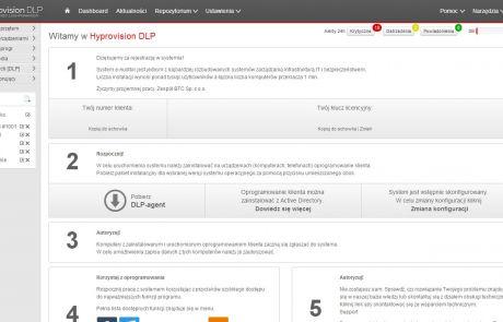 Dashboard w programie Hyprovision DLP