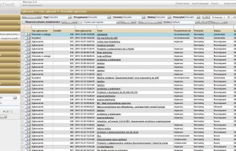 Lista zgłoszeń w programie eHelpDesk