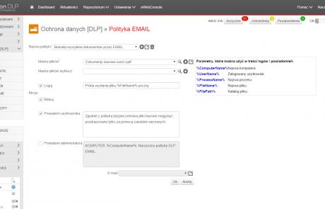 Polityka e-mail w programie Hyprovision DLP