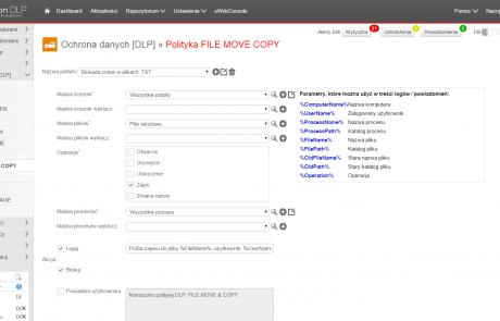 Polityka File Move Copy w programie Hyprovision DLP